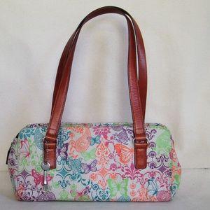 Vintage Fossil Pebbled Leather Floral Shoulder Bag